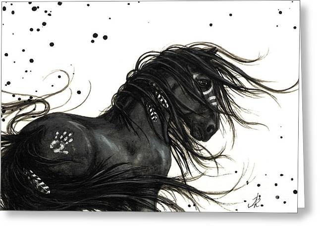 Native American Spirit Portrait Greeting Cards - Majestic Friesian 48 Greeting Card by AmyLyn Bihrle
