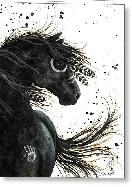 War Paint Art Greeting Cards - Majestic Friesian Greeting Card by AmyLyn Bihrle