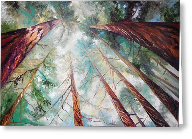 Santa Cruz Paintings Greeting Cards - Majestic Giants Greeting Card by Cedar Lee