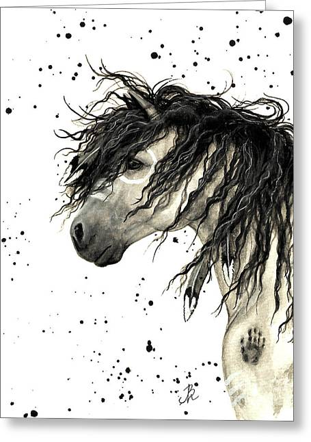 Mustang Art Greeting Cards - Majestic Grey Spirit Horse #44 Greeting Card by AmyLyn Bihrle