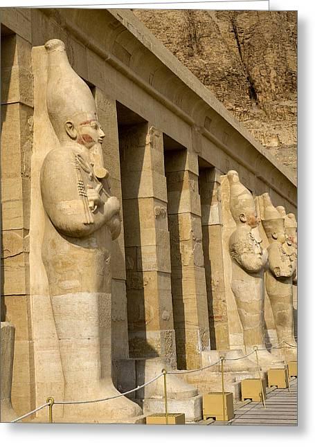 Hathor Greeting Cards - Majestic Guardian Queens Greeting Card by Brenda Kean