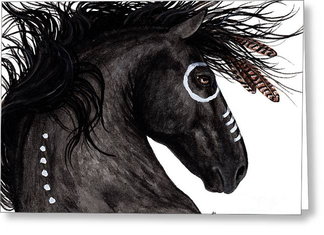 War Paint Art Greeting Cards - Majestic Horse 130 Greeting Card by AmyLyn Bihrle