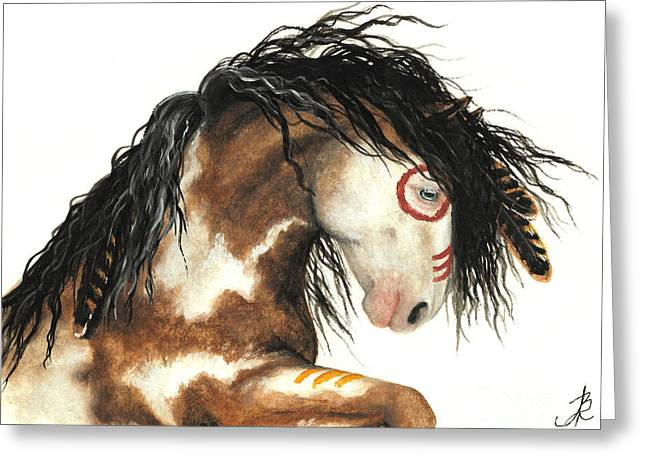 Tri Colored Greeting Cards - Majestic Horse Mustang 64 Greeting Card by AmyLyn Bihrle