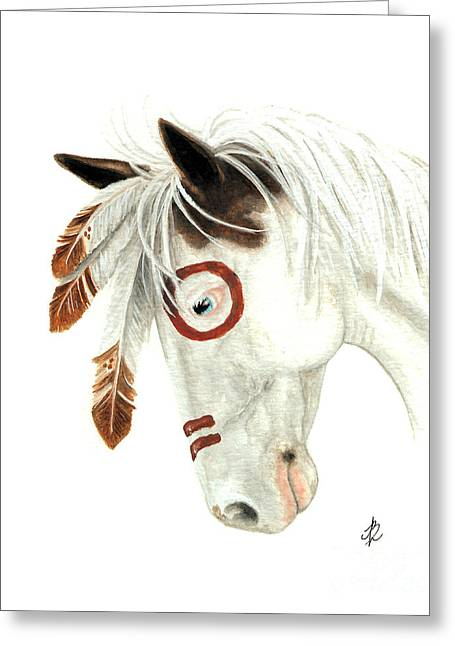 Buckskin Horse Greeting Cards - Majestic Horse Medicine Hat 41 Greeting Card by AmyLyn Bihrle