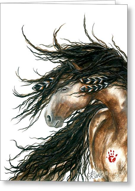 Hand Greeting Cards - Majestic Pinto Horse 80 Greeting Card by AmyLyn Bihrle
