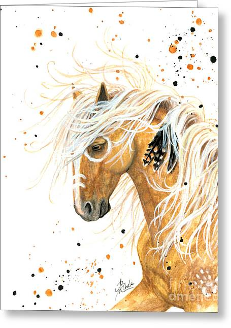 Painted Ponies Greeting Cards - Majestic Palomino Horse 84 Greeting Card by AmyLyn Bihrle