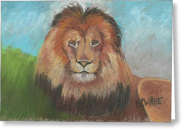 Majestic Pastels Greeting Cards - Majestic Lion Greeting Card by Brian White