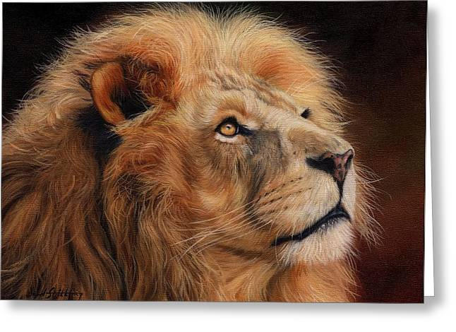 Lions Greeting Cards - Majestic Lion Greeting Card by David Stribbling