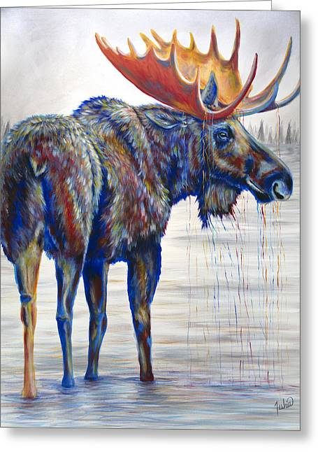 Best Sellers Greeting Cards - Majestic Moose Greeting Card by Teshia Art