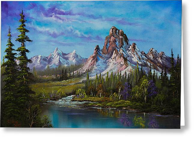 Bob Ross Paintings Greeting Cards - Majestic Morning Greeting Card by C Steele