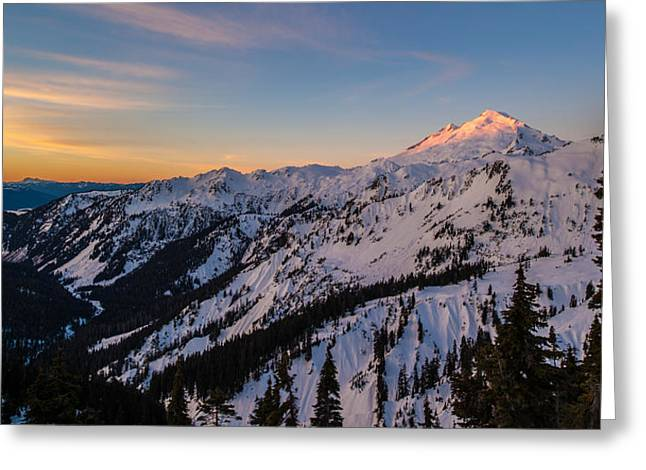 North Cascades Greeting Cards - Majestic Mount Baker Sunrise Light Greeting Card by Mike Reid