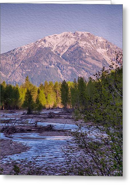 Okanogan National Forest Mixed Media Greeting Cards - Majestic Mountain Morning Greeting Card by Omaste Witkowski