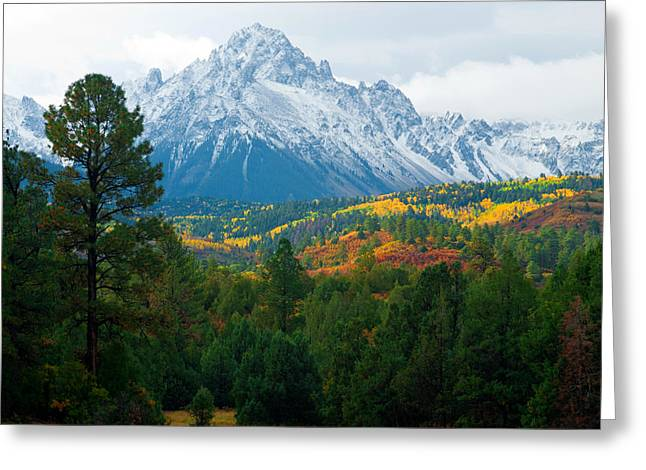 Autumn Prints Greeting Cards - Majestic Mt. Sneffels Greeting Card by John Hoffman