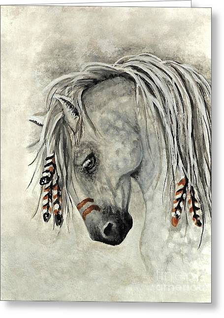 Grey Fine Art Greeting Cards - Majestic Mustang 30 Greeting Card by AmyLyn Bihrle