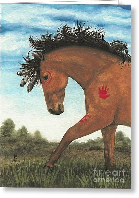 Tri Colored Greeting Cards - Majestic Mustang 36 Greeting Card by AmyLyn Bihrle
