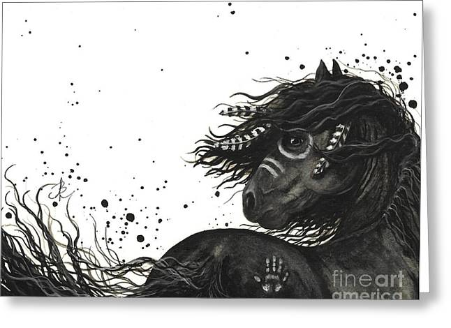 Tri Colored Greeting Cards - Majestic Friesian Horse 53 Greeting Card by AmyLyn Bihrle