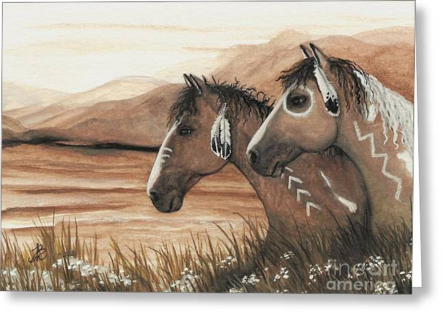 Tri Colored Greeting Cards - Majestic Mustang Series 42 Greeting Card by AmyLyn Bihrle