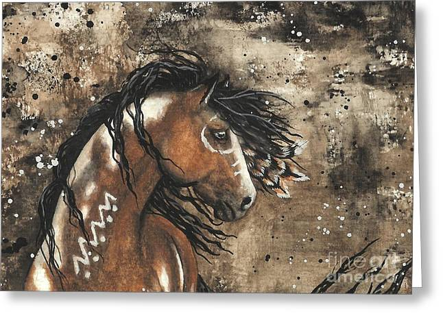 Tri Colored Greeting Cards - Majestic Mustang Series 61 Greeting Card by AmyLyn Bihrle