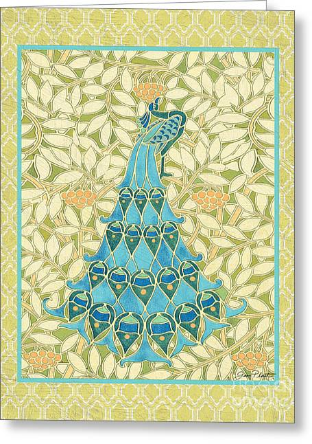 Floral Digital Art Digital Art Greeting Cards - Majestic Peacock-B Greeting Card by Jean Plout