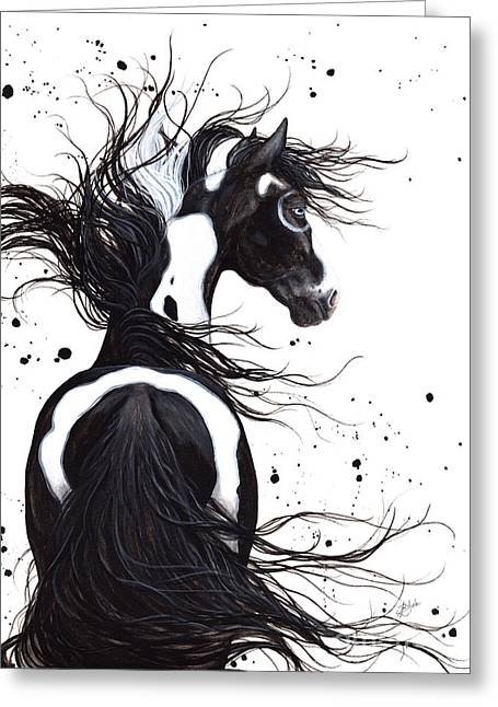 Flowing Paintings Greeting Cards - Majestic Pinto 108 Greeting Card by AmyLyn Bihrle