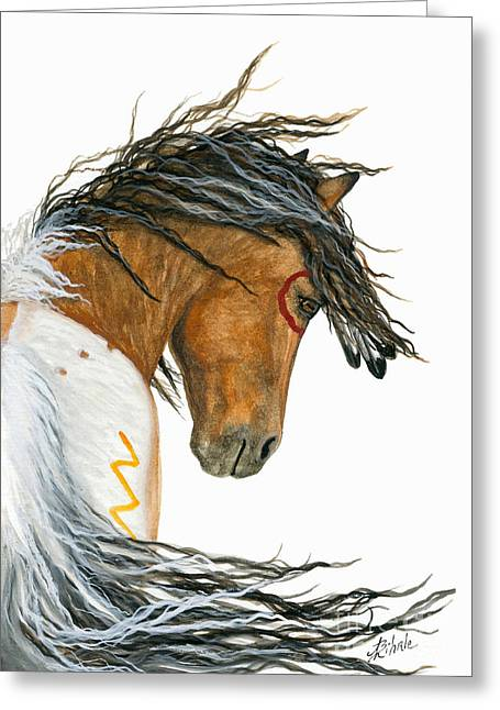 War Paint Art Greeting Cards - Majestic Pinto 110 Greeting Card by AmyLyn Bihrle