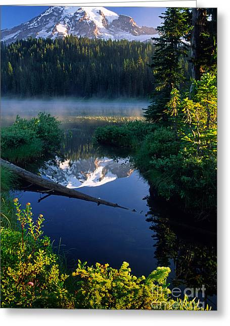 Pacific Northwest Greeting Cards - Majestic Reflection Greeting Card by Inge Johnsson