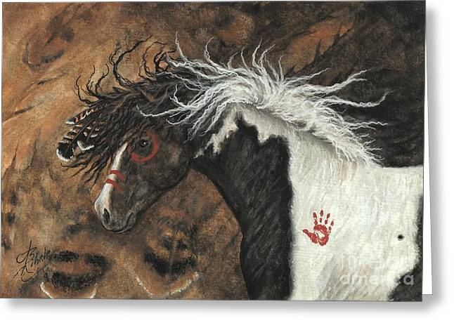Mustang Art Greeting Cards - Majestic Pinto Horse 78 Greeting Card by AmyLyn Bihrle