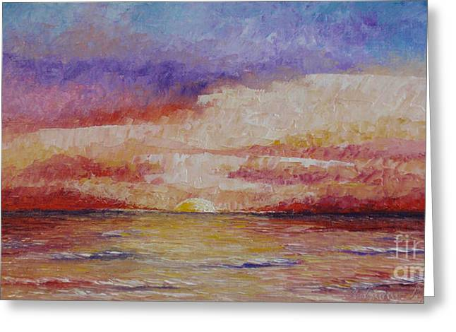 Pallet Knife Greeting Cards - Majestic sunset  Greeting Card by Tatjana Popovska