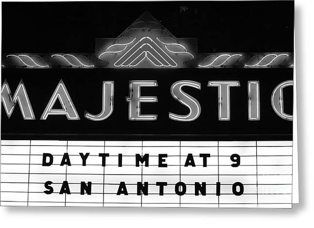 Illuminate Greeting Cards - Majestic Theater Marquee Classic Cinema Americana San Antonio Black and White Greeting Card by Shawn O