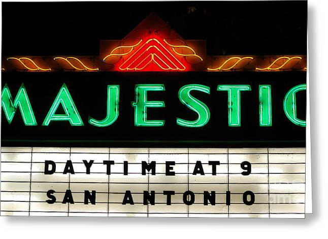 San Antonio Greeting Cards - Majestic Theater Marquee Classic Cinema Americana San Antonio Ink Outlines Digital Art Greeting Card by Shawn O