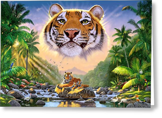 Young Tiger Greeting Cards - Majestic Tiger Greeting Card by Chris Heitt