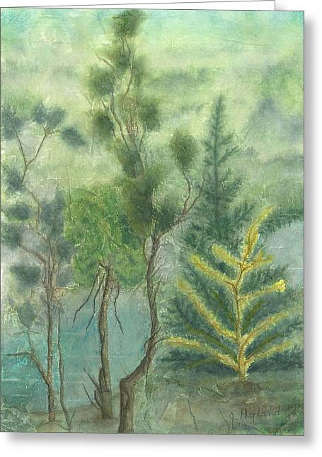 Pine Needles Mixed Media Greeting Cards - Majestic Trees Greeting Card by Jeanne Hyland-Curtin