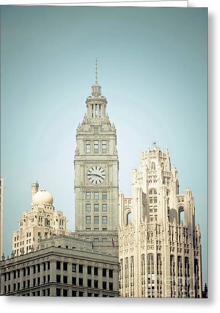 Linda Matlow Greeting Cards - Majestic vintage buildings Chicago Greeting Card by Linda Matlow