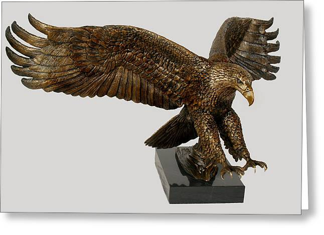 Eagle Sculptures Greeting Cards - Majestic Vision Greeting Card by Shawn McAvoy
