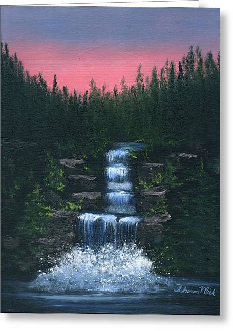 Greeting Cards Paintings Greeting Cards - Majestic Waterfall Greeting Card by Sharon Mick