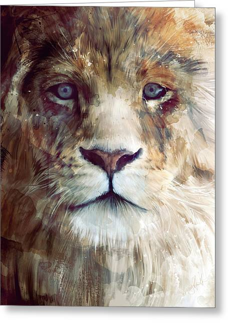 Lion Illustrations Greeting Cards - Majesty Greeting Card by Amy Hamilton