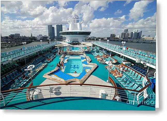 Pool Deck Greeting Cards - Majesty of the Seas Against Miami Skyline Greeting Card by Amy Cicconi