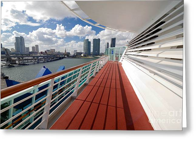 Caribbean Greeting Cards - Majesty of the Seas at Port of Miami Greeting Card by Amy Cicconi