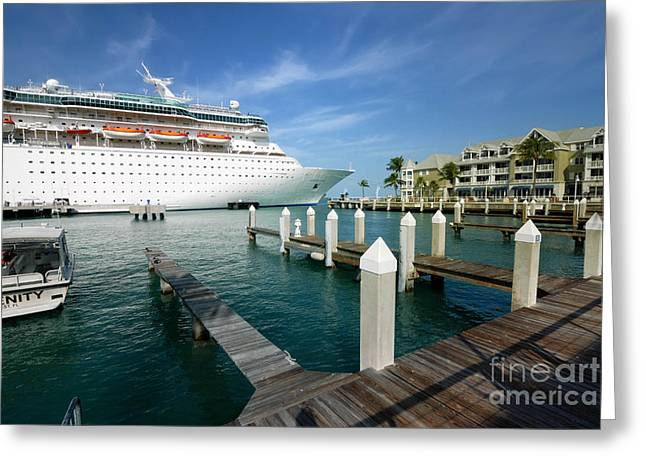 Cruise Vacation Greeting Cards - Majesty of the Seas docked at Key West Florida Greeting Card by Amy Cicconi
