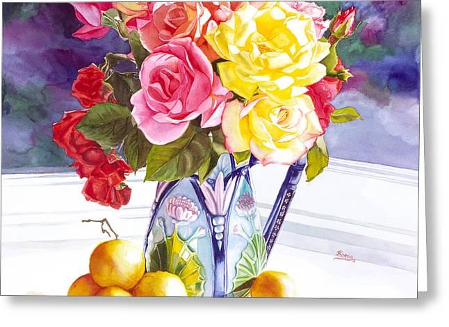 Majolica II Greeting Card by  Judy  Koenig
