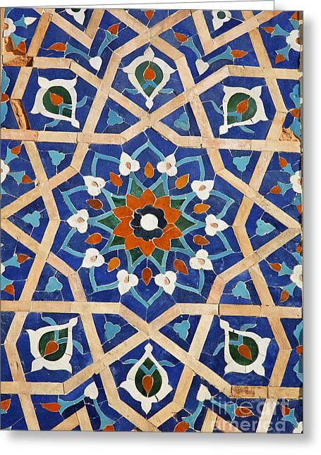 Majolica Tile Work At Samarkand In Uzbekistan Greeting Card by Robert Preston
