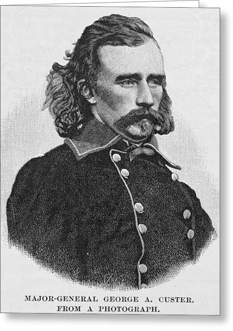 American Photographs Greeting Cards - Major General George Armstrong Custer, Engraved From A Photograph, Illustration From Battles Greeting Card by Alexander Gardner