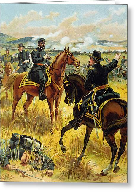 Major General Greeting Cards - Major General George Meade at the Battle of Gettysburg Greeting Card by Henry Alexander Ogden