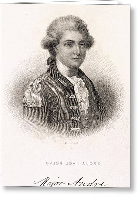 American Independance Photographs Greeting Cards - Major John Andre Greeting Card by British Library