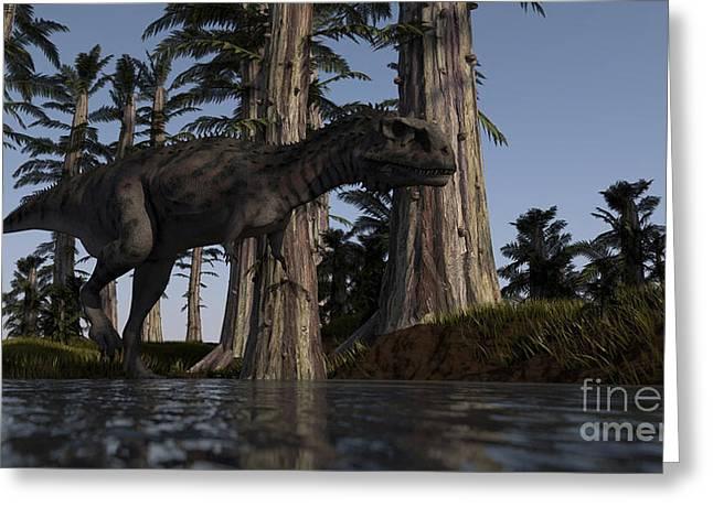 Majungasaurus Hunting For Food Greeting Card by Kostyantyn Ivanyshen