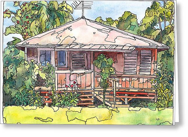 Mango Mixed Media Greeting Cards - Makawao House Greeting Card by Stacy Vosberg