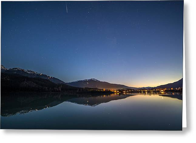 Ski Village Greeting Cards - Make a wish shooting star over Whistler Blackcomb Greeting Card by Pierre Leclerc Photography