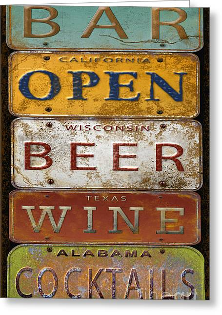 Old Signage Greeting Cards - Bar Open-License Plate Art  Greeting Card by Jean Plout