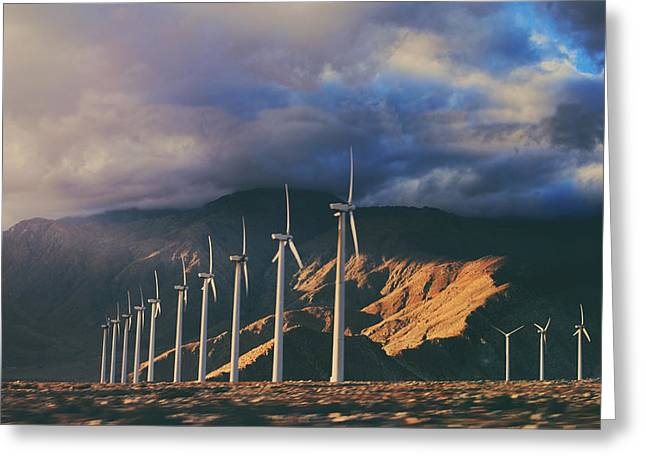 Wind Turbines Greeting Cards - Make It Through Greeting Card by Laurie Search