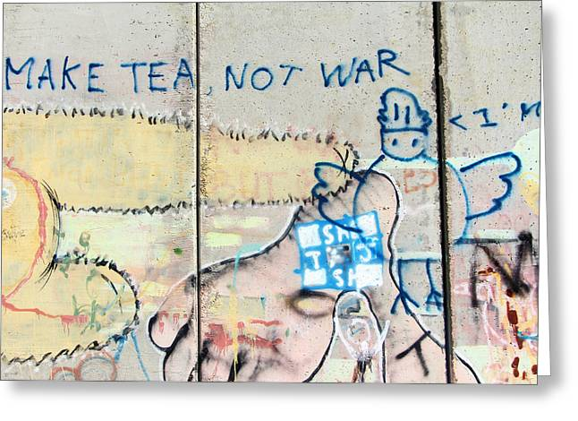 Holy Land Drawings Greeting Cards - Make Tea Not War Greeting Card by Munir Alawi